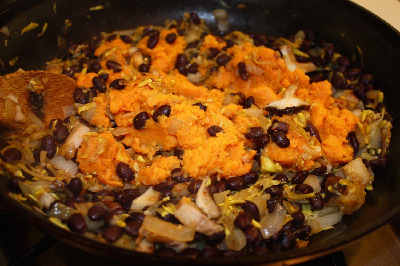 black bean, sweet potato squash filling
