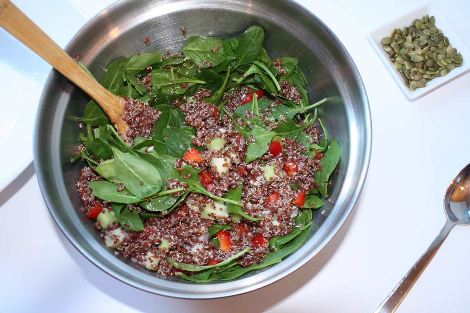mix red quinoa with spinach