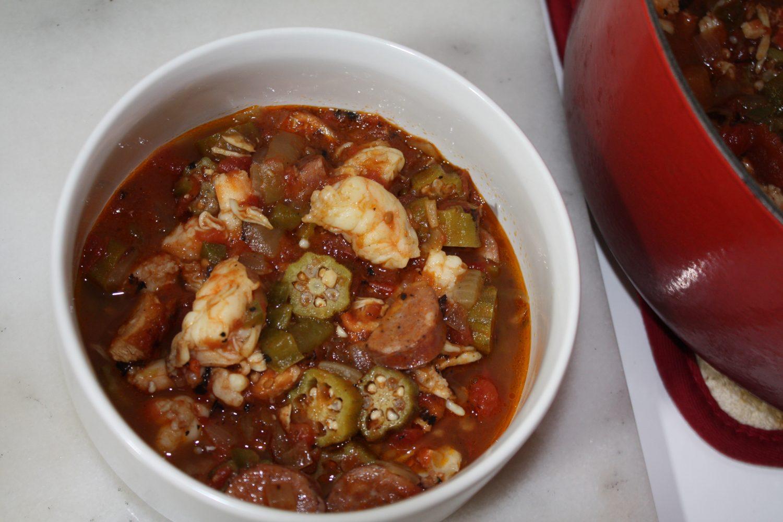 sausage, shrimp, okra, crab, chicken