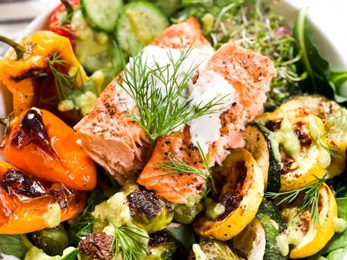 Plant Based Salad Bowl with Grilled Salmon