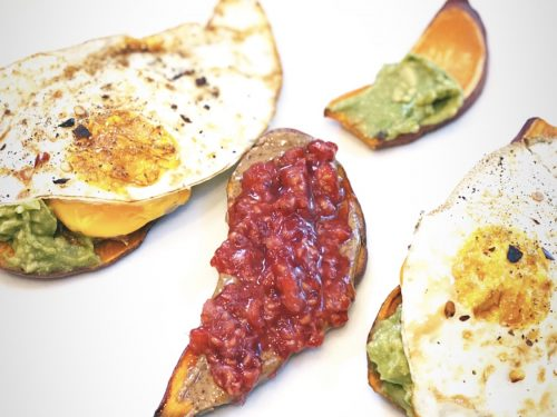 Breakfast is sweet potato toast with eggs/avocado and almond butter and raspberries