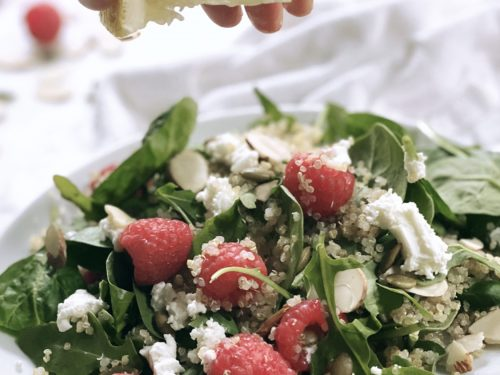 Salad with Goat Cheese, Raspberries and Mixed Greens