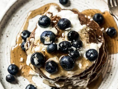 Stacked Blueberry Buckwheat Pancakes