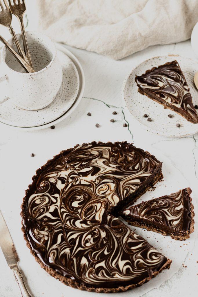 Chocolate Tahini Date Tart