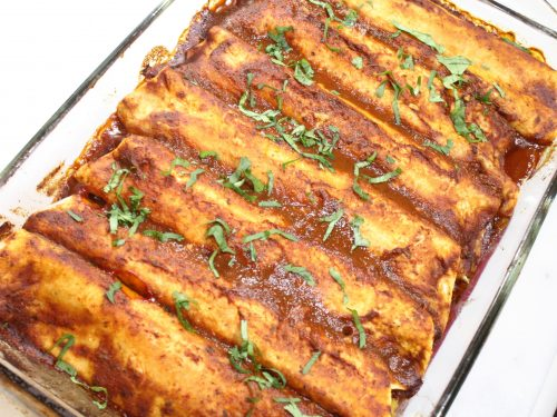 red sauce and vegetable enchilada
