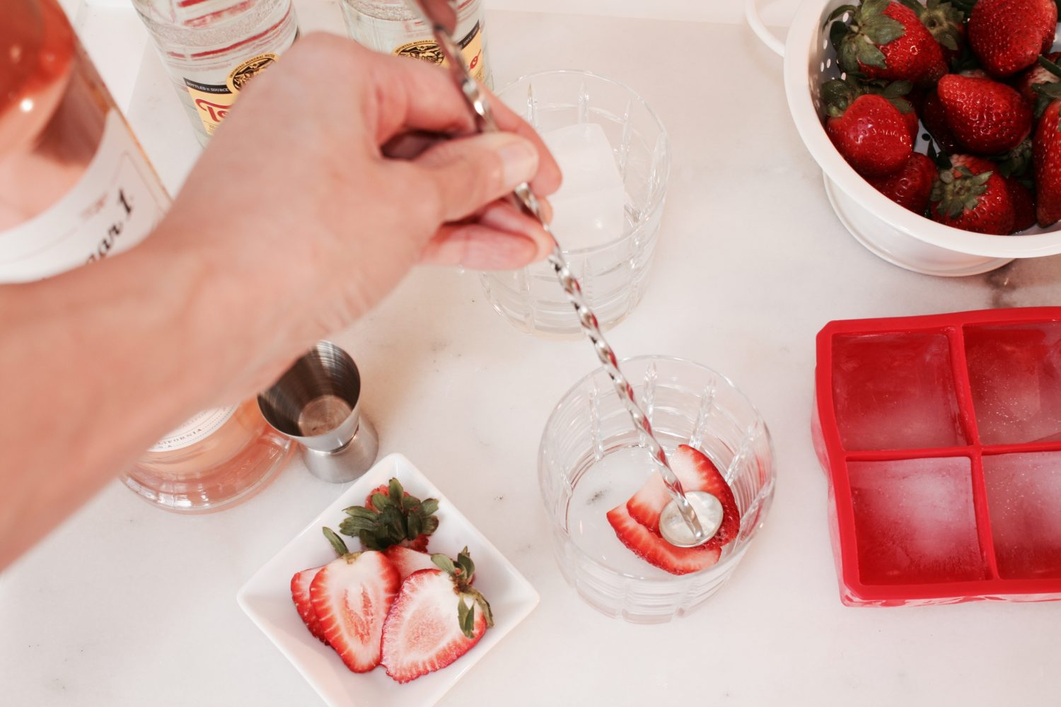 muddled strawberry for drink