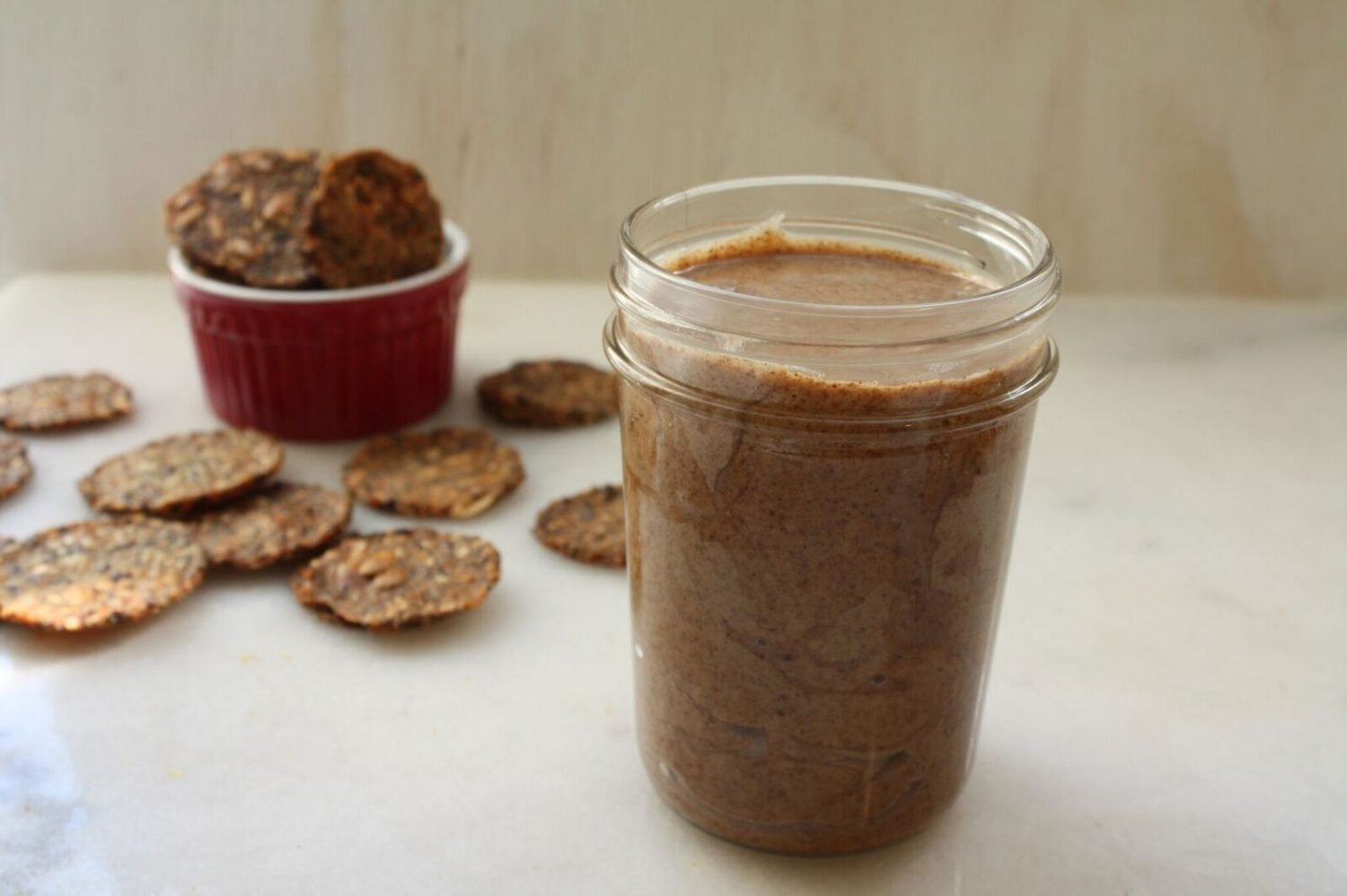 raw almond butter with crackers