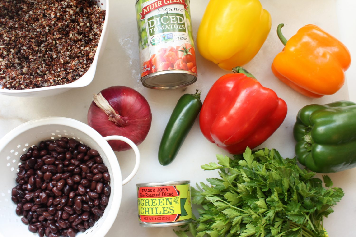 black bean, quinoa, tomatoes, green chilies, parsley, bell peppers