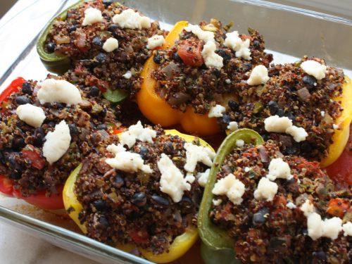 black bean and quinoa stuffed peppers
