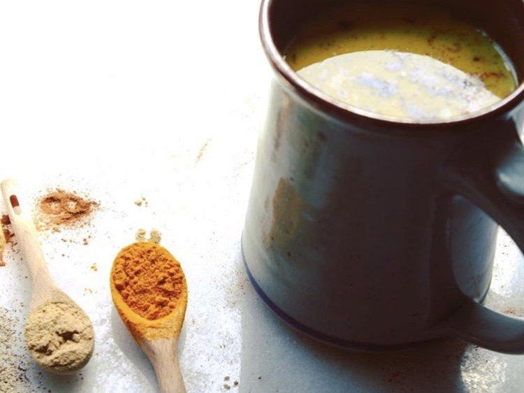 turmeric, ginger cinnamon latte and almond milk