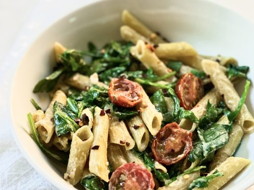 Pasta with a Spicy Tahini Lemon Sauce