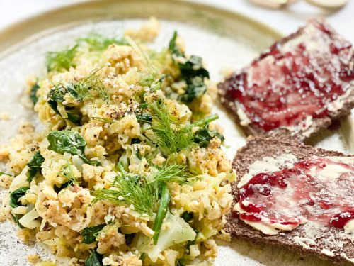 Scrambled Eggs with Cauliflower Rice and Spinach