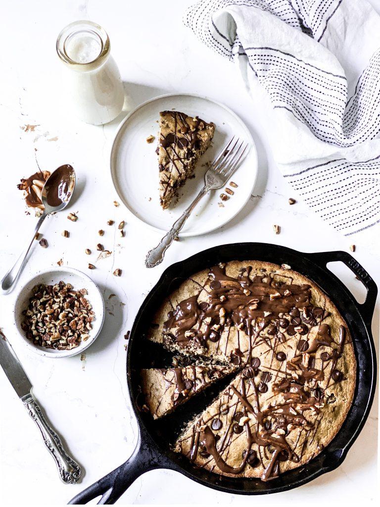 Chocolate Chip Pecan Cookie Skillet