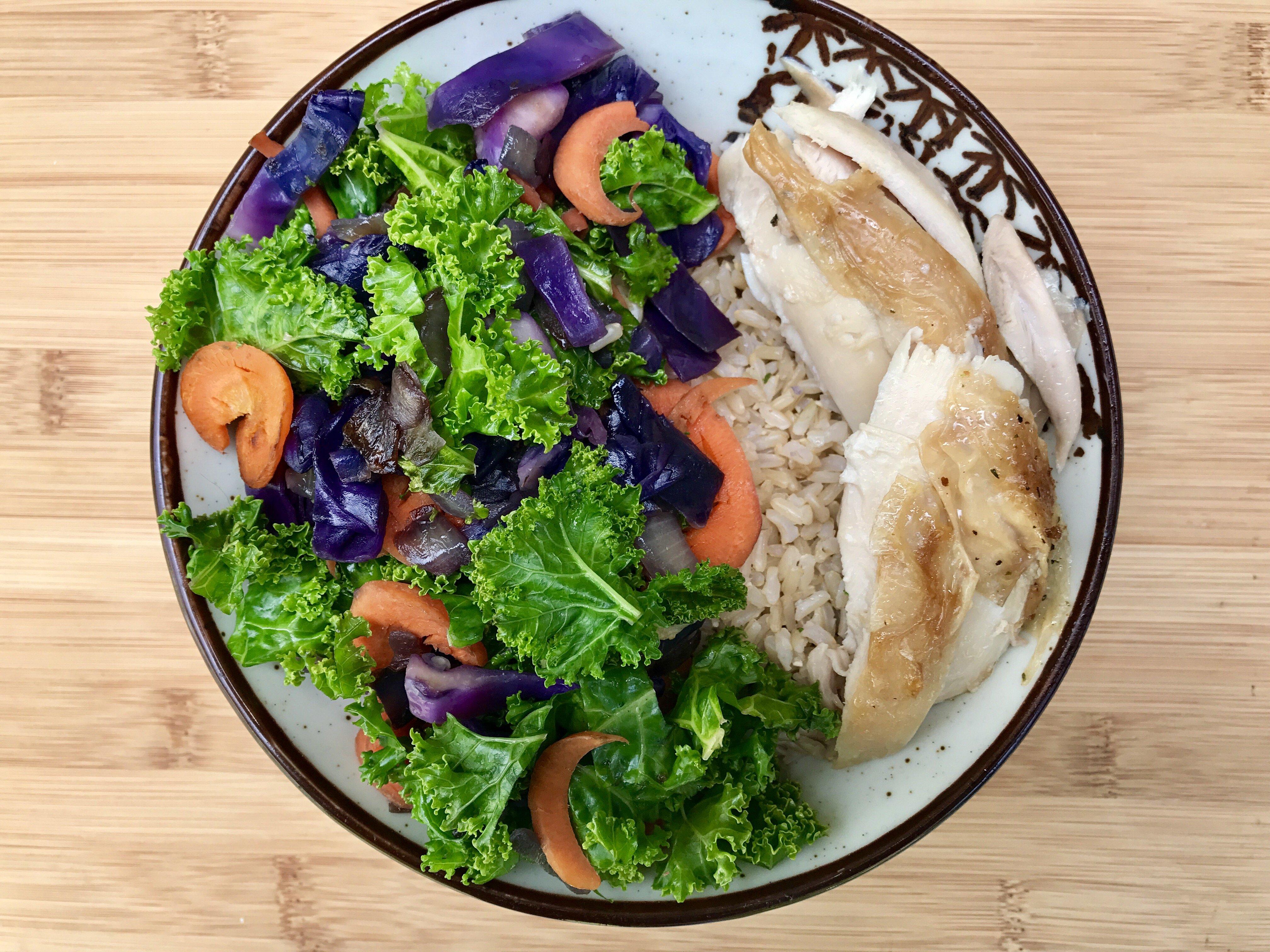 Rotisserie Chicken with Cabbage Kale Stir Fry