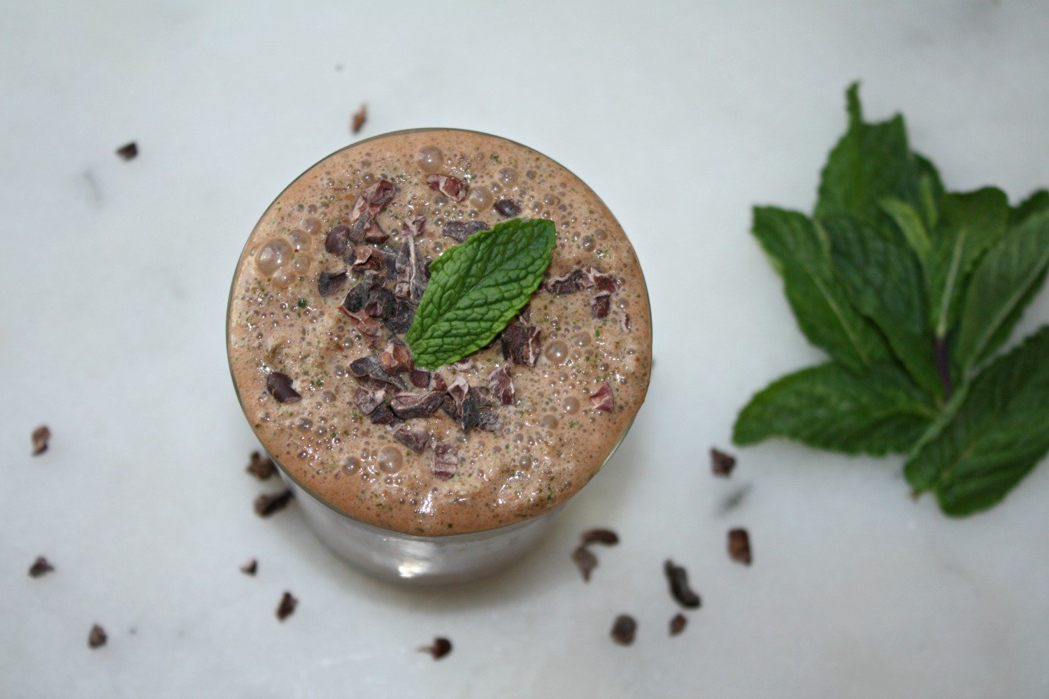 Top of the mint cacao smoothie