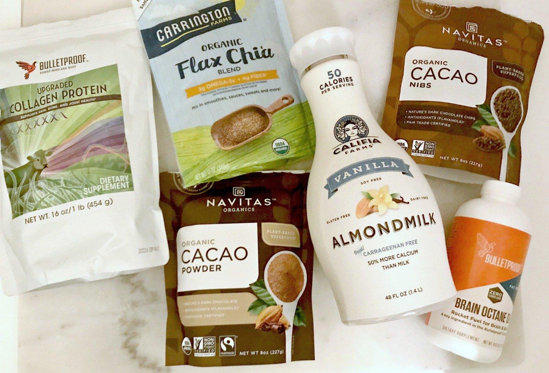cacao powder, almond milk, collagen, cococut oil