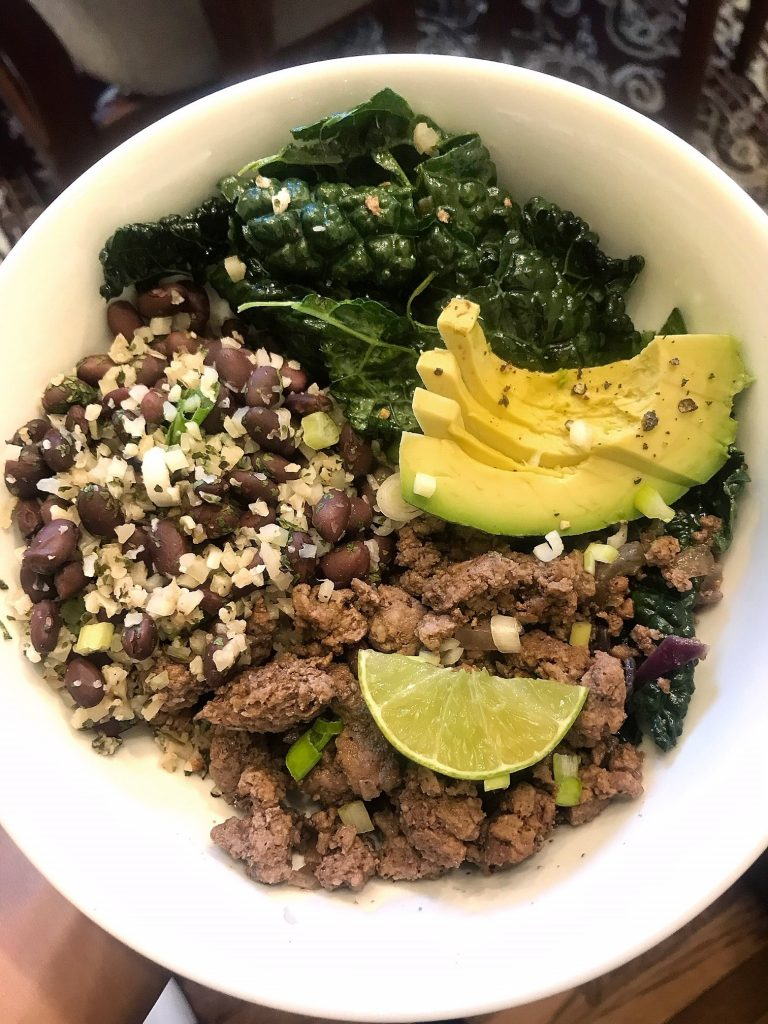 ground beef cauliflower rice taco bowl
